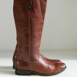 FRYE Leather Melisa Button Tall Brown Boots